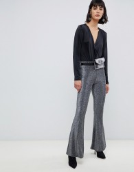 Pieces Wide Leg Glitter Trousers - Black