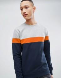 Pier One Colour Block Sweatshirt In Grey - Grey