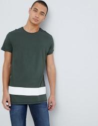 Pier One Colour Block T-Shirt In Khaki - Green