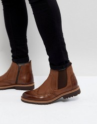 Pier One Leather Brogue Chelsea Boots In Tan - Tan