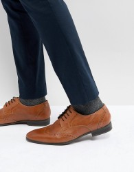 Pier One Leather Brogues In Tan - Tan