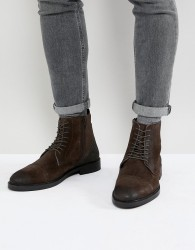 Pier One Leather Contrast Boots In Brown - Black