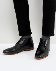 Pier One Leather Desert Boots In Black - Black