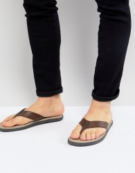 Pier One leather flip flops in tan - Tan