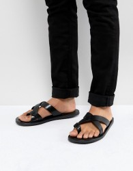 Pier One Leather Sandals In Black - Black