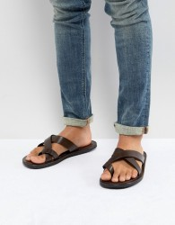 Pier One Leather Sandals In Brown - Brown