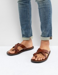 Pier One Leather Sandals In Tan - Tan