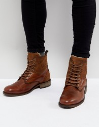 Pier One Leather Warm Lace Up Boots In Tan - Tan