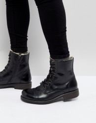 Pier One Leather Warm Lining Boots In Black - Black