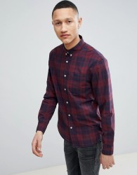 Pier One Poplin Check Shirt In Red And Navy Check - Red