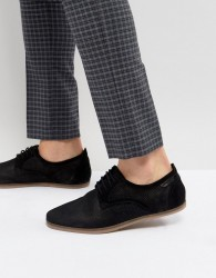 Pier One Punched Lace Up Shoes In Black Suede - Black