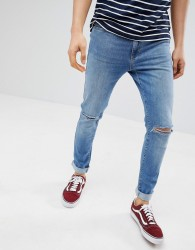 Pier One Slim Fit Jeans In Light Blue With Rips - Blue