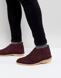 Pier One Suede Desert Boots In Burgundy - Red