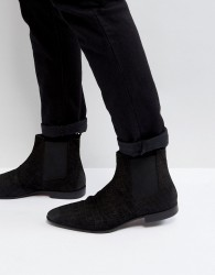 Pier One Suede Slim Chelsea Boots In Black - Black