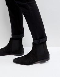 Pier One Suede Slim Chelsea Boots In Black - Black