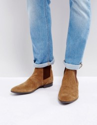 Pier One Suede Slim Chelsea Boots In Tan - Tan