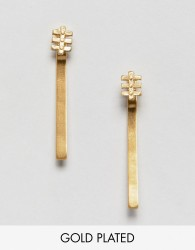 Pilgrim gold plated drop bar earrings - Gold