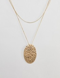 Pilgrim gold plated hammered disc necklace - Gold