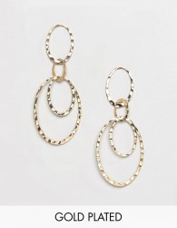 Pilgrim gold plated multi hoop drop earrings - Gold