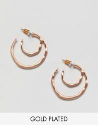 Pilgrim rose gold plated mini double hoop earrings - Gold