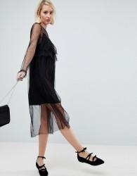 Pimkie Ruffle Detail Lace Overlay Shift Dress - Black