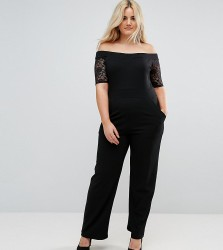 Pink Clove Lace Bardot Wide Leg Jumpsuit - Black