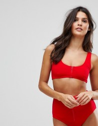 Playful Promises Textured Ribbed Zip Front Bikini Top - Red