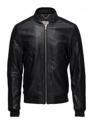 Pocketed Leather Bomber Jacket
