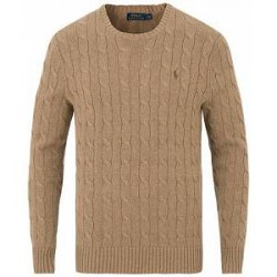 Polo Ralph Lauren Cotton Cable Crew Neck Fall Sand Heather