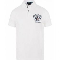 Polo Ralph Lauren Custom Fit Flag Backprint Polo Classic White