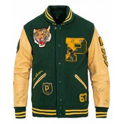 Polo Ralph Lauren Letterman Varsity Leather Jacket College Green