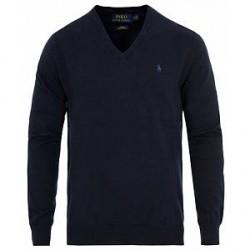 Polo Ralph Lauren Pima Cotton V-neck Pullover Hunter Navy