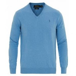Polo Ralph Lauren Pima Cotton V-Neck Pullover Nantucket Blue Heather
