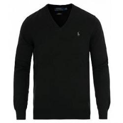 Polo Ralph Lauren Pima Cotton V-neck Pullover Polo Black