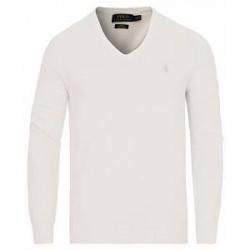 Polo Ralph Lauren Pima Cotton V-Neck Pullover White