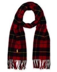 Polo Ralph Lauren Wool Check Scarf Red/Black men One size Rød