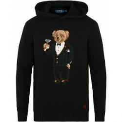 Polo Ralph Lauren Wool/Cashmere Martini Bear Hoodie Black