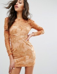 PrettyLittleThing Floral Mesh Long Sleeve Bodycon Dress - Brown