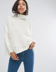 PrettyLittleThing Neck Detail Jumper - Cream