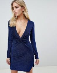 PrettyLittleThing plunge twist front mini dress in navy - Blue