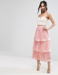 PrettyLittleThing Tiered Maxi Skirt - Pink
