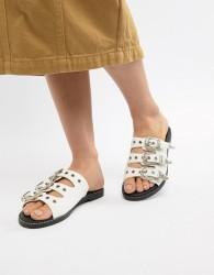 PrettyLittleThing Western Buckle Slider Sandals - White