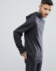 Process Black Knitted Fine Guage Hoodie - Grey