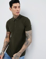 Process Black Short Sleeve Waffle Knit Polo - Green
