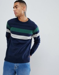 Produkt Cotton Knitted Jumper With Sport Stripe - Navy