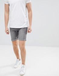 Produkt Denim Shorts In Washed Grey Denim - Grey