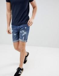 Produkt Denim Shorts With Distressing - Blue