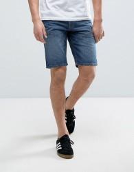 Produkt Denim Shorts With Seam Detail - Blue
