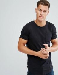Produkt Longline T-Shirt In Slub Cotton - Black