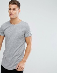 Produkt Longline T-Shirt In Slub Cotton - Grey